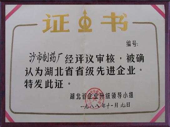 湖北省省级先进企业证书